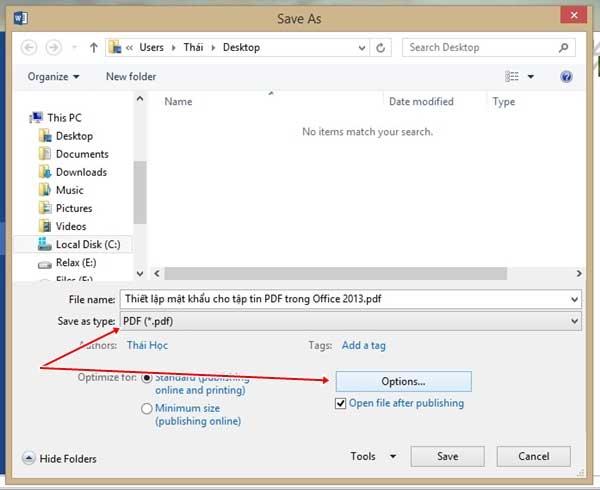 Thiết lập mật khẩu cho tập tin PDF trong Office 2013 4
