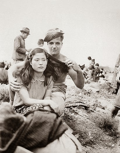 American soldier unhappy Japanese girl Occupied Japan after WW2