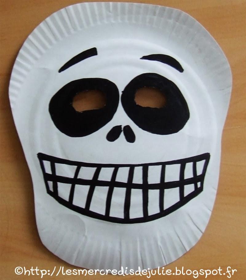 les mercredis de julie halloween masque squelette avec assiette en carton. Black Bedroom Furniture Sets. Home Design Ideas
