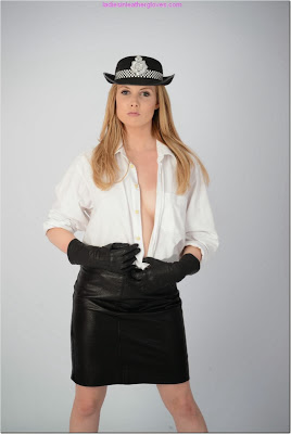 Sexy Police Woman Leather Skirt and Gloves Open Blouse