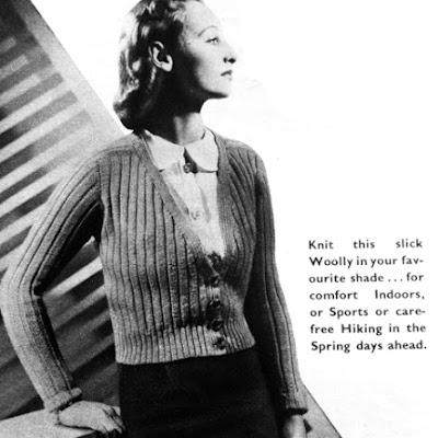 The Vintage Pattern Files: Free 1930's Knitting Pattern - Women's Ribbed Cardigan