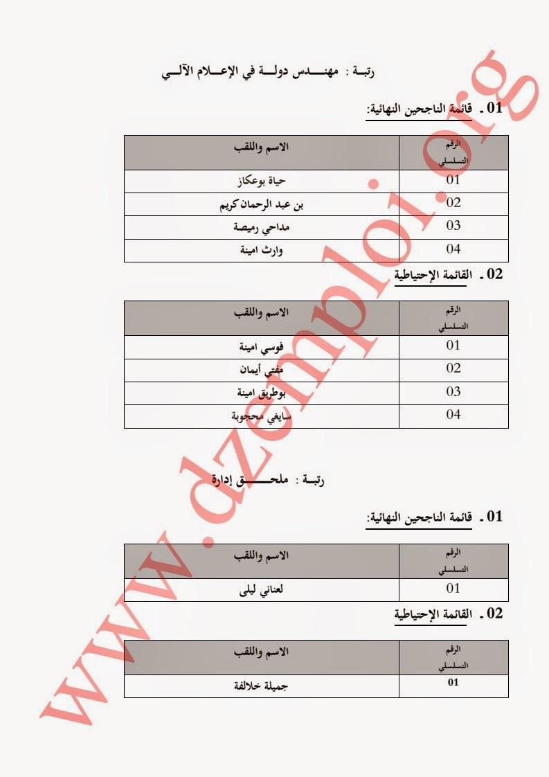 إعلان نتائج مسابقة توظيف بوزارة التجارة لسنة 2014 2.jpg