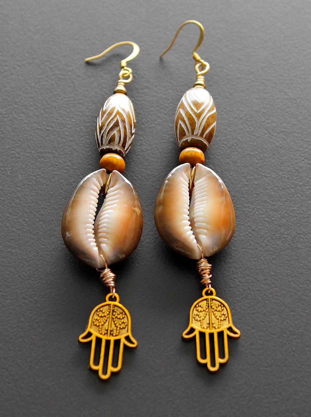 african cowry shell hamsa earrings