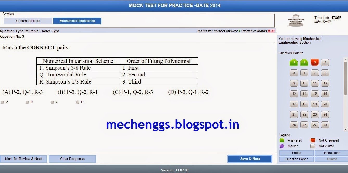 Gate Mock Test For Mechanical 2015