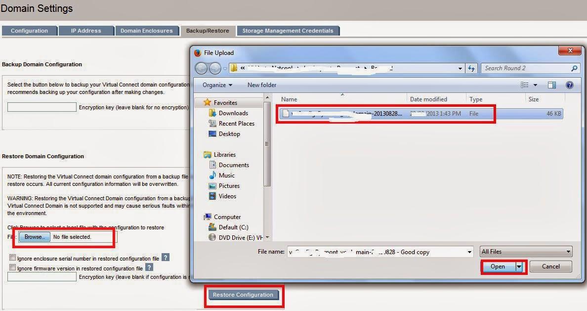HP Virtual Connect Restore Procedure Virtualcloudz - Backup and restore procedures template