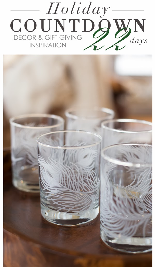 Maison K Holiday Countdown Gift Giving and Home Decor Inspiration 2013 Santa Barbara Peacock Feather Cut Glasses