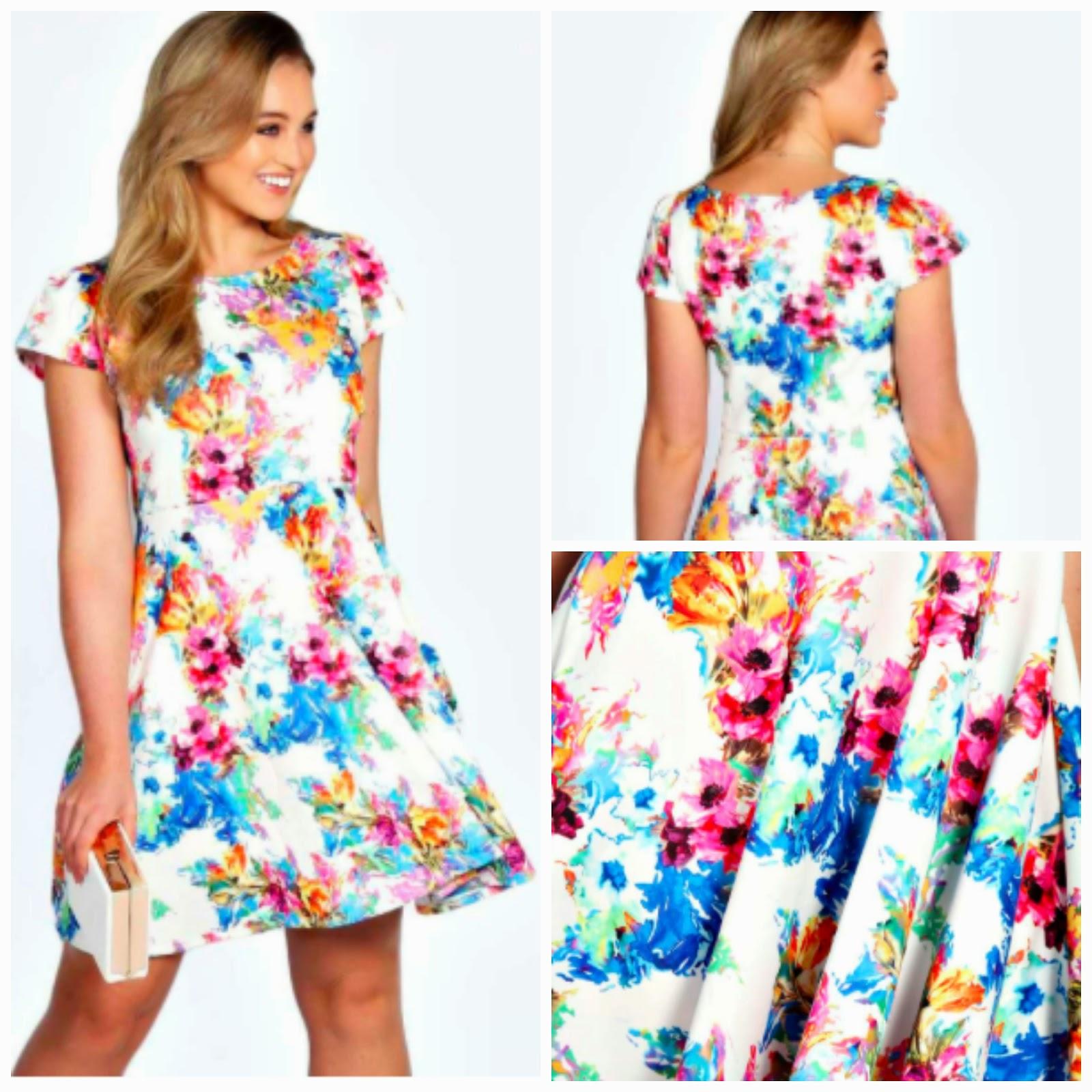 Boohoo Plus Size Printed Prom Dress