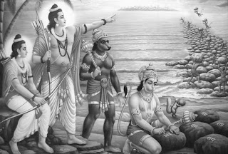 Rama directing vanaras to build Rama's bridge