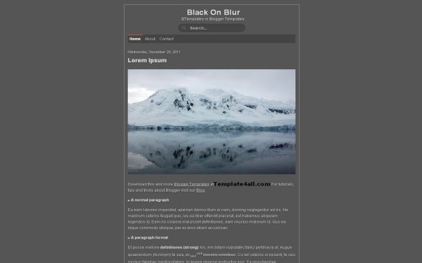 Simple Dark Grey Free Blogger Theme Template