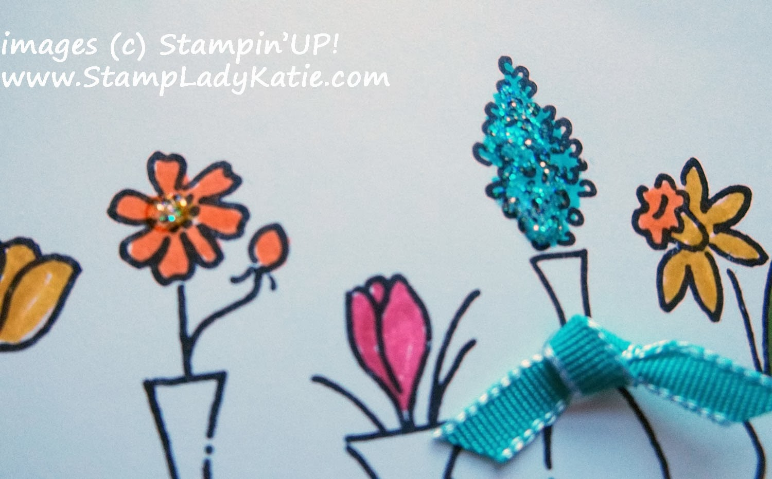 Card made with Stampin'UP!'s Vivid Vases Stamp Set with Dazzling Details Glitter Glue