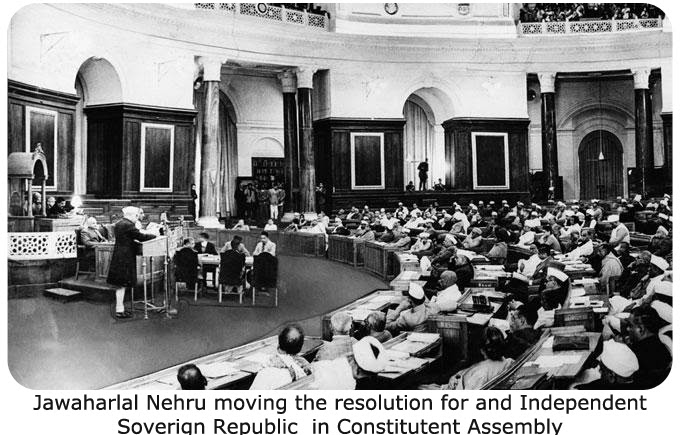 Jawaharlal Nehru moving the resolution for and Independent Sverign Republic in Constituent Assembly