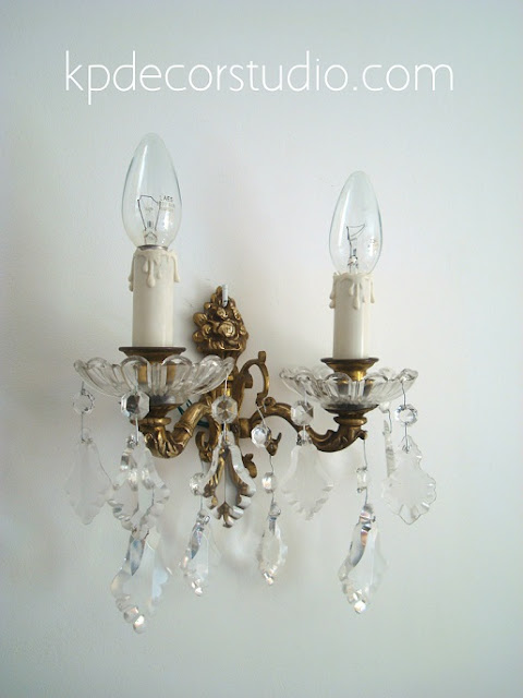 comprar aplique vintage de cristal y bronce para pared del salon pasillo o entrada para decoracion clasica
