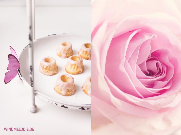 Weiße Etagere Vanille Mini-Gugl Rezept Rosa Rose
