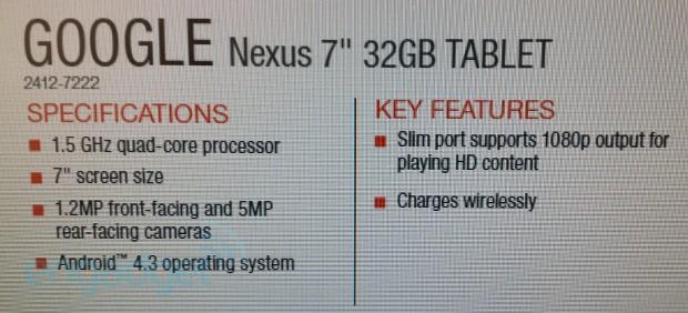 Nexus 7 II Leaked Doc