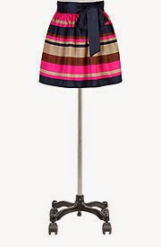 Sash waist satin stripe skirt