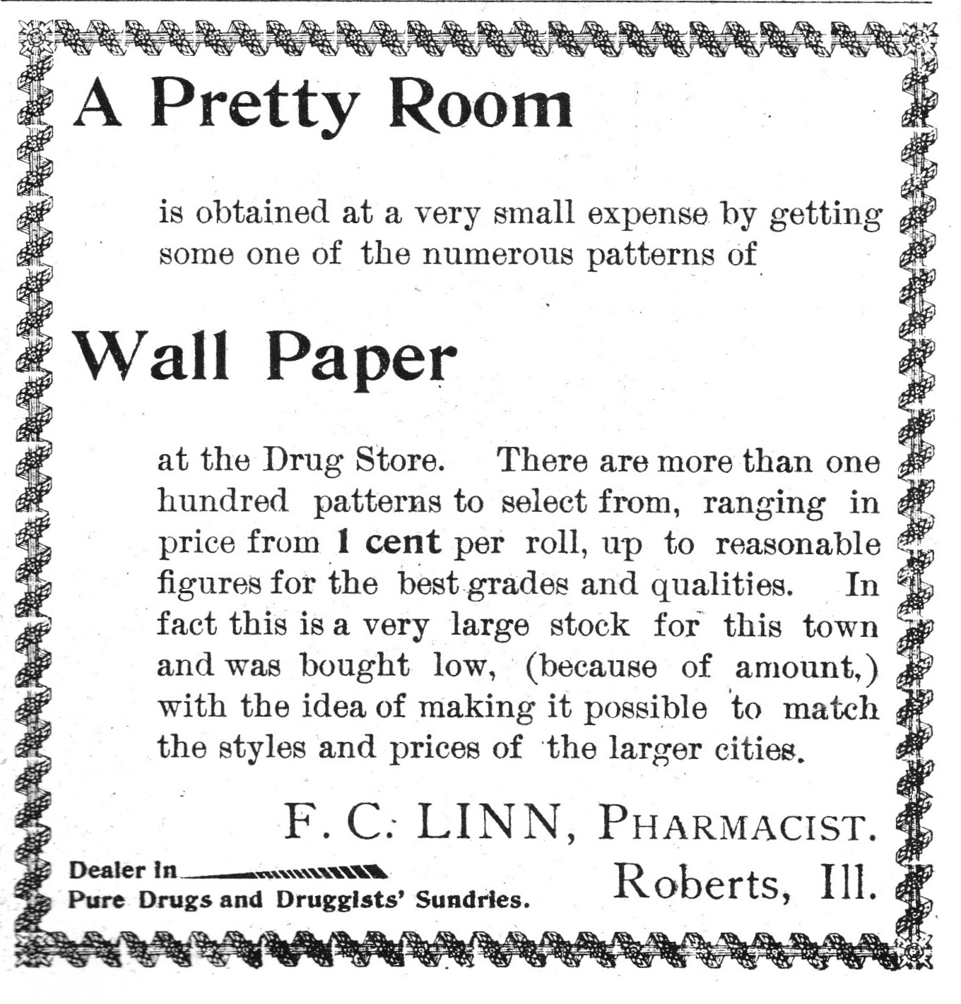 F. C. Linn 1901 Ad