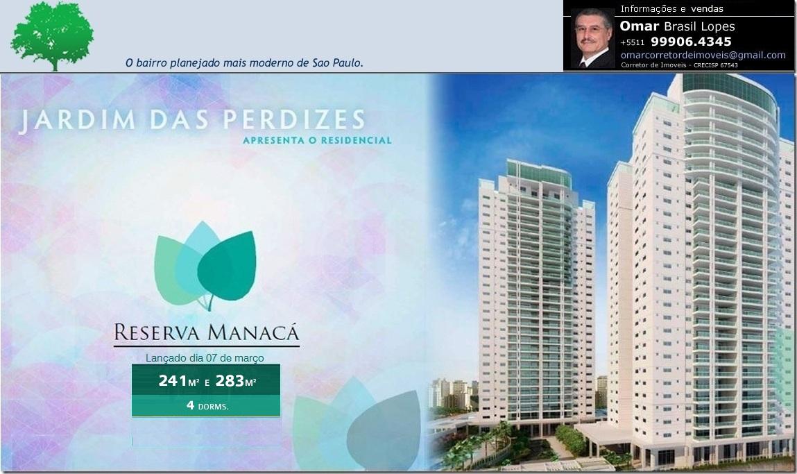 JARDIM DAS PERDIZES RESERVA MANACÁ - Apartamentos com 240m² e 285m². Requinte e Sofisticação.
