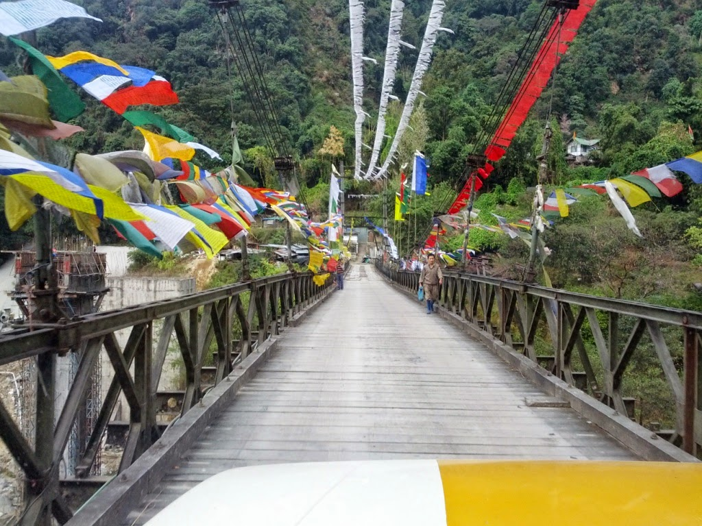 Bridge with prayer flags