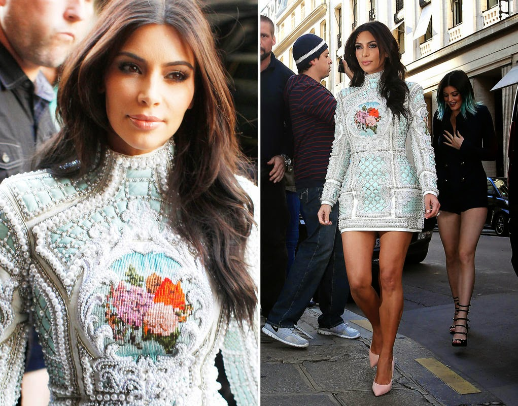 Kim Kardashian wearing a bulky, beaded Balmain mini