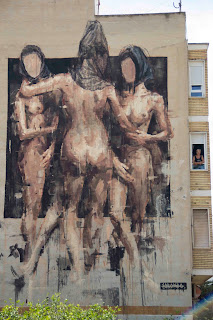 Street Art By Spanish Street Artist Borondo On the Streets Of Blanca in Spain. 3