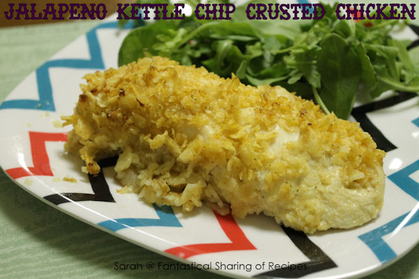 Jalepeno Kettle Chip Crusted Chicken - chicken coated with a spicy jalapeno chip crust.