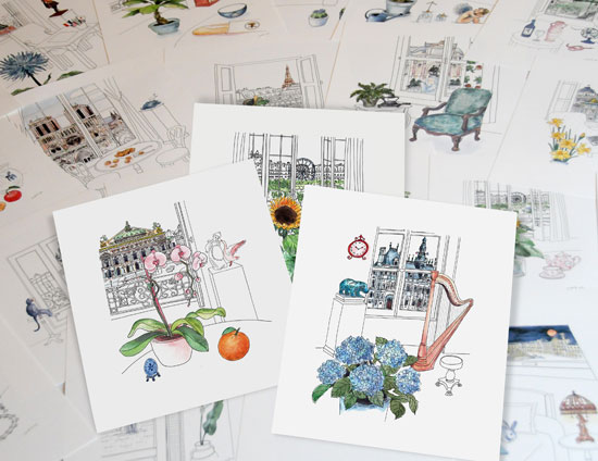 "Illustrations de ""ABC Book of Paris"" par Yukié Matsushita"
