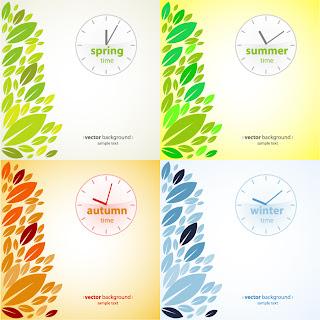 プレゼン用 四季の背景 four seasons presentation vector イラスト素材