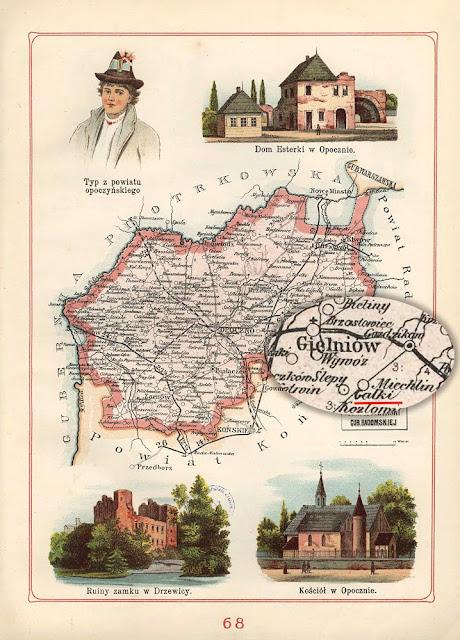 Gałki na mapie z 1907 r. Atlas geograficzny ilustrowany J.M. Bazewicza, Warszawa 1907, il. 68.