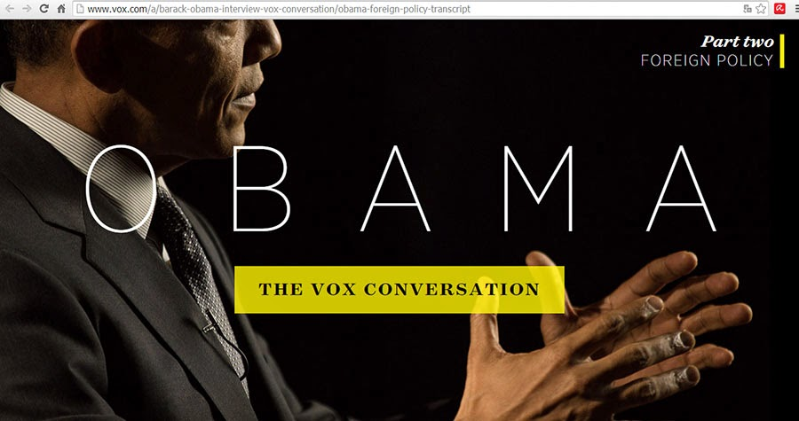 Screenshot of the Vox.com page with Obama's inerview.