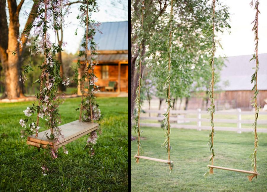 Columpio decorado con flores
