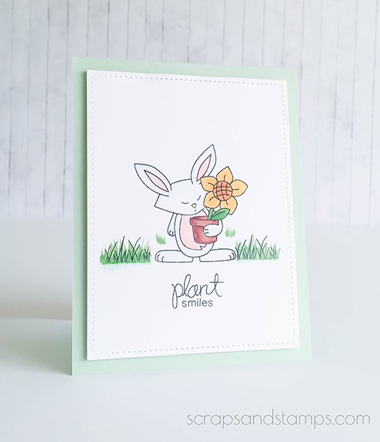 Plant Smiles Bunny Garden Card by Nicole Picadura | Garden Whimsy | Garden Stamp Set by Newton's Nook Designs