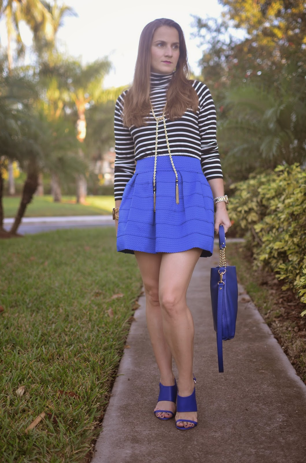 Cobalt pleated skirt - stripped turtleneck - cobalt wedges - cobalt bag