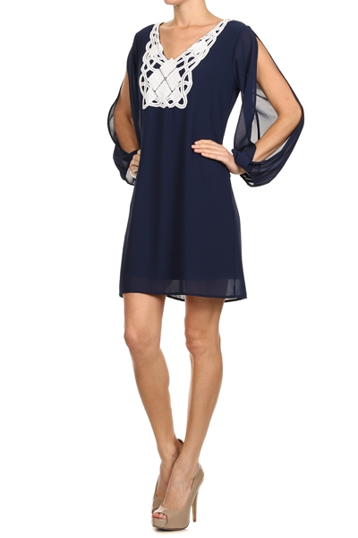 ModaBox Navy Crochet Open Sleeve Dress