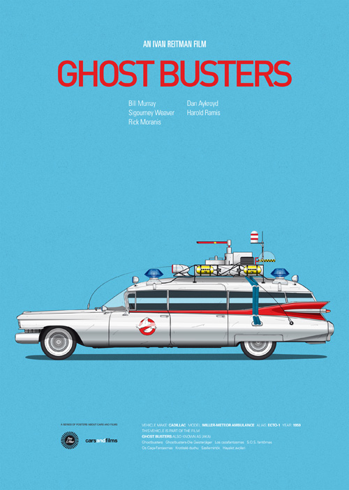 Carros famosos do cinema em posters minimalistas - Jesús Prudencio - Ghost Busters