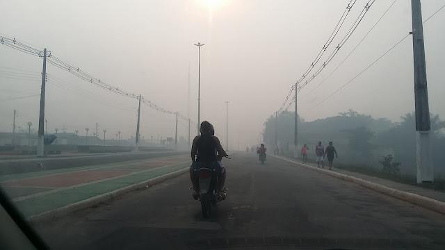 Coari amanheceu tomada pela fumaça das queimadas