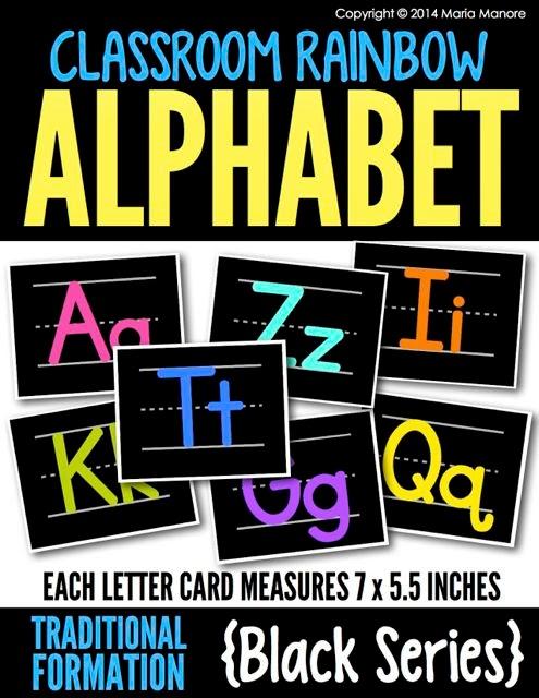 Classroom Rainbow Alphabet Traditional Black Series