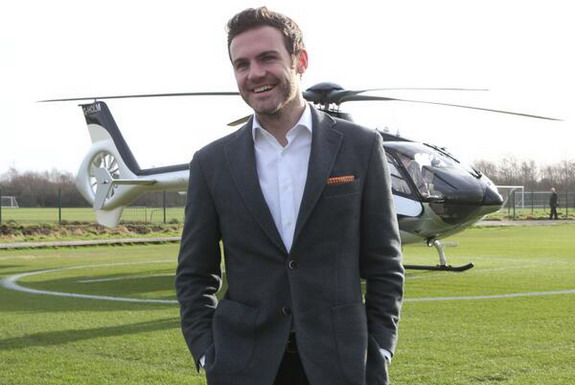 Juan Mata arrives at the Aon Training Complex before his medical