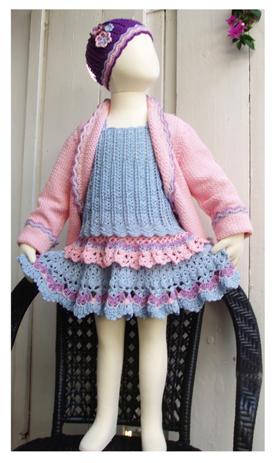 CROCHET PINK GIRL CARDIGAN WITH FLOWERS
