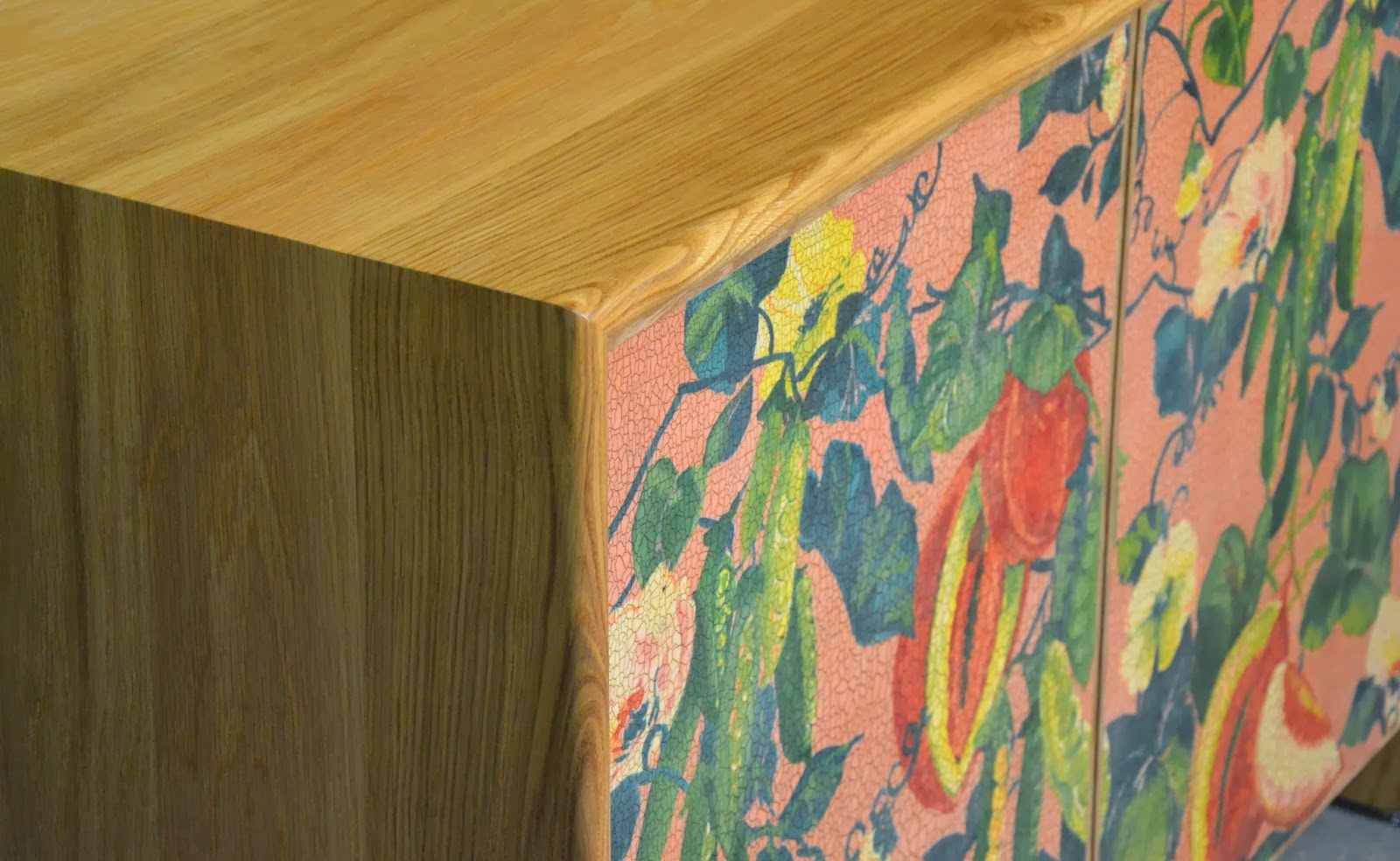 Oak sideboard with crackle glaze Melon and Snap Peas Fabric