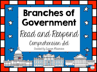https://www.teacherspayteachers.com/Product/Branches-of-Government-Read-and-Respond-Comprehension-Set-219021
