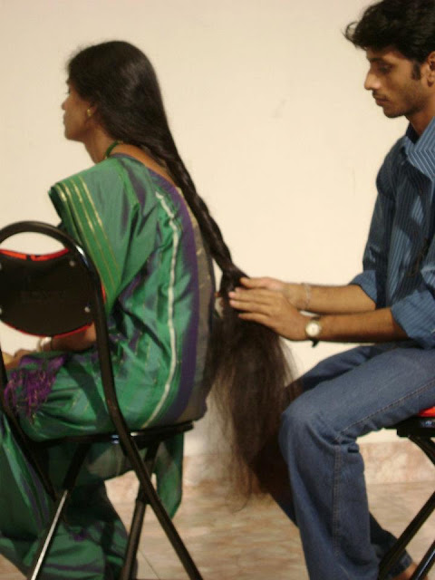 long hair play by man