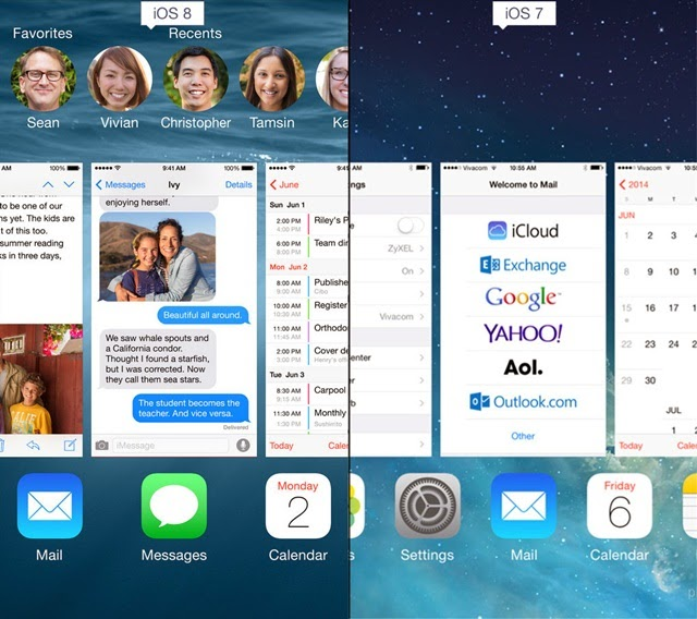 iOS 8 and iOS 7 OS 8 Favorite Contacts in the Multitasking Window