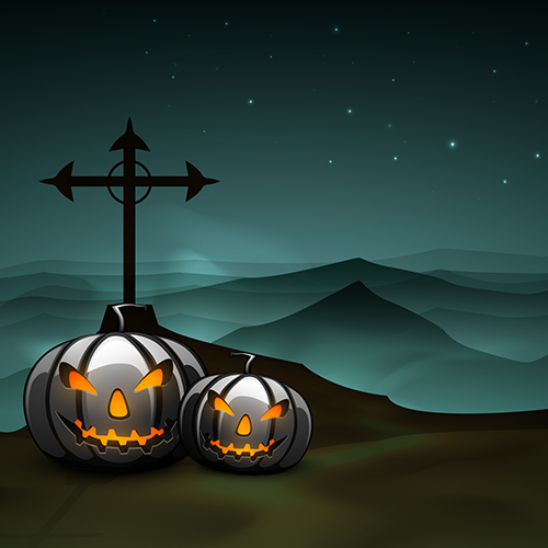 calabaza y tumba de halloween 2.0 - vector