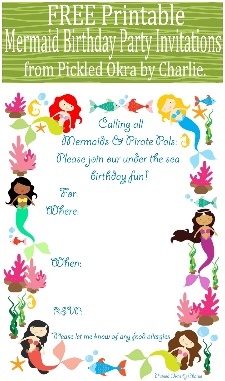 Old Fashioned image throughout mermaid birthday invitations free printable