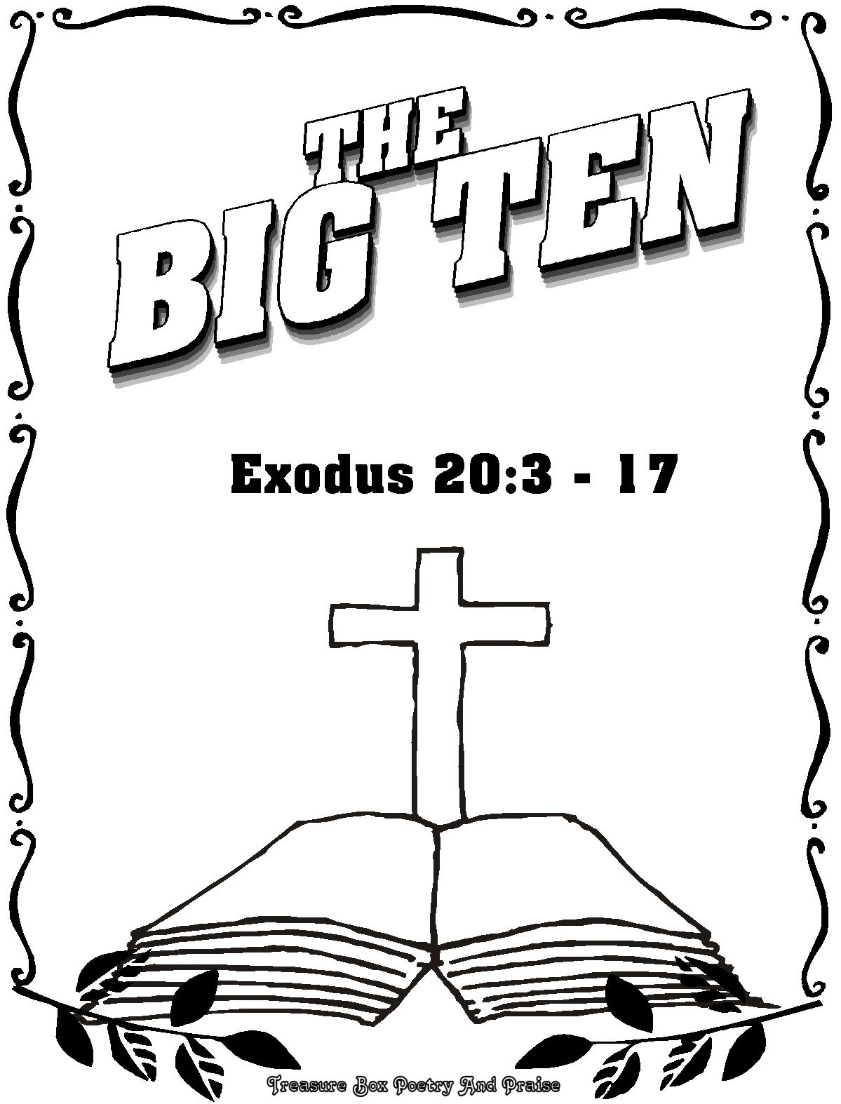 Children 39 s gems in my treasure box the big ten coloring for Ten commandments for kids coloring pages