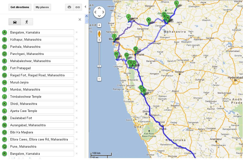 Google route map:
