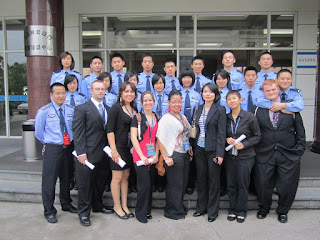 SHSU Students pose with police cadets from Zhejiang Police College.