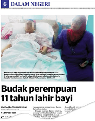 Bayi yang dilahirkan budak 11 tahun meninggal dunia