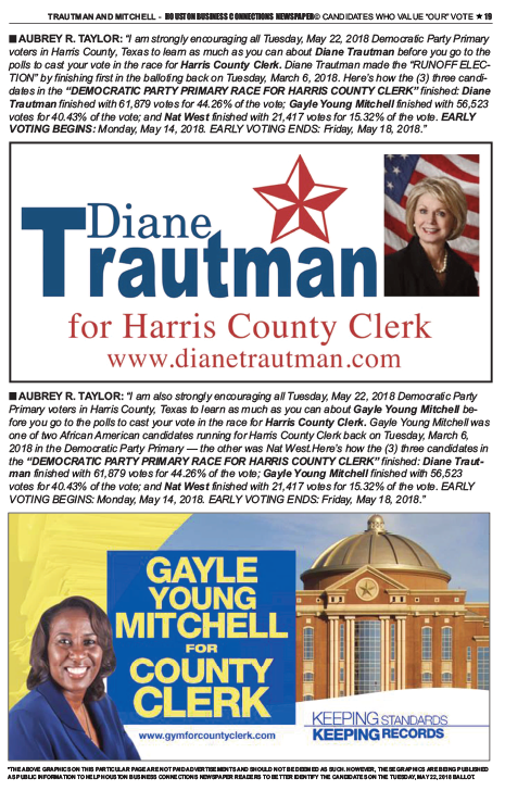 PAGE 19 - HOUSTON BUSINESS CONNECTIONS NEWSPAPER© RUNOFF ELECTION - PART 1 of 3