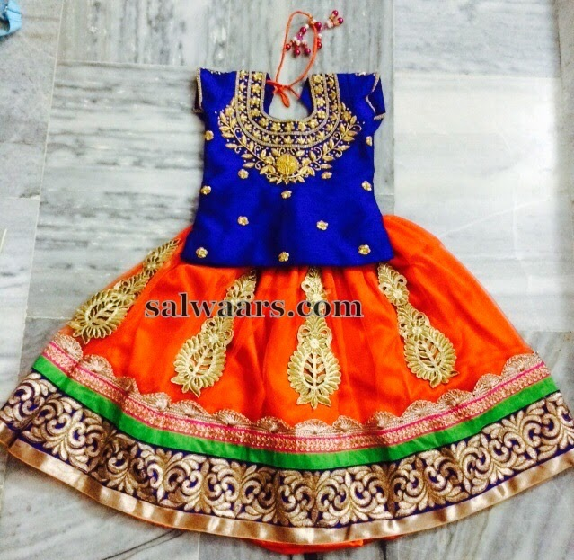 High Neck Blouse Orange Kids Lehenga